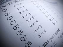 Test answers. Form close up stock photos