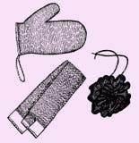 Test av bast, tvättlappar stock illustrationer