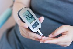 Test Blood Glucose For Diabetes. In Pregnant Woman With Glucometer Stock Photography