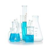 Test-buizen, flessen met blauwe geïsoleerde vloeistof Royalty-vrije Stock Fotografie