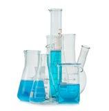 Test-buizen, flessen met blauwe geïsoleerde vloeistof Royalty-vrije Stock Foto