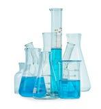 Test-buizen, flessen met blauwe vloeistof Stock Afbeeldingen