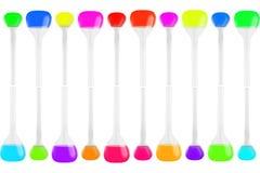 Test-buizen verschillende die vormen met multi-colored vloeistoffen op witte achtergrond worden geïsoleerd Geneeskunde, Chemie Ho Stock Fotografie