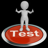 Test Button Showing Quiz And Online Questionnaires Stock Photos