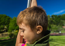 Test of Courage. Happy child tried Test of Courage Royalty Free Stock Image