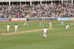 Test Cricket Match Players. England vs India. Third Test, Edgbaston, 13th August 2011. Indian captain MS Dhoni batting against England Royalty Free Stock Photo