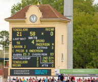 Test Cricket Scoreboard. Electronic cricket scoreboard showing the score during the Third Test between England and India at Edgbaston (day four). 13 August 2011 Stock Image