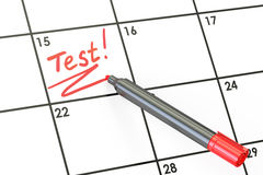 Test date on calendar concept, 3D rendering. Test date on calendar concept, 3D Royalty Free Stock Image