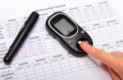Test for determination level sugar and medical form Stock Image