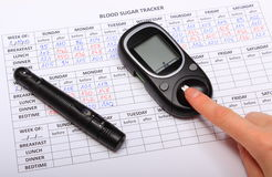 Test for determination level sugar and medical form Royalty Free Stock Photo