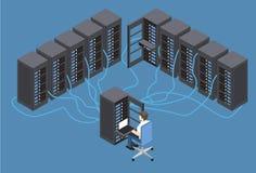 Test diagnostico isometrico dell'illustrazione di vettore in una stanza del computer server Fotografia Stock Libera da Diritti