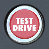 Test Drive Red Round Ignition Car Start Button Stock Images