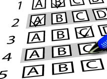 Test exam. Sheet with multiple choices Royalty Free Stock Images