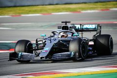 Formula One test. Barcelona, Spain. 18 February, 2019. Lewis Hamilton of the Mercedes Petronas Team in action during the winter test at the circuit of Catalunya royalty free stock photography