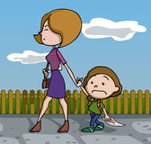 Test fail. Mother furious at her son because of his test fail. Vector illustration. Cartoon stock illustration
