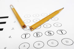 Test frustration. Multiple choice exam with TEST text and broken pencil. Frustration or learning disability concept Stock Image