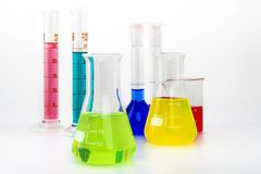 Test glass tubes with color liquids Stock Photo