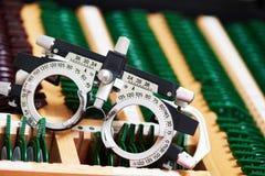 Test glasses phoropter for eyesight examinations Stock Photography