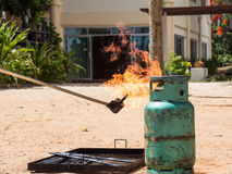 Test ignited a gas tank. Demonstration test ignited a gas tank Stock Photos