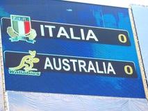 Test match Italia del rugbi contra Australia Imágenes de archivo libres de regalías