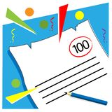 Test paper stock vector, gets a value of 100. EPS file available. see more images related vector illustration