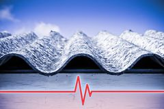 Test on the presence of asbestos in the construction materials of buildings - concept image with check-up chart about asbestos. Level testing stock image