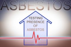 Test on the presence of asbestos in the construction materials of our homes - concept image with check-up chart about asbestos. Level testing royalty free stock photo