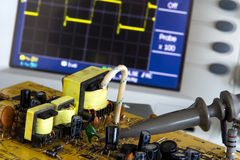 Test pulse power and voltage waveform. On the oscilloscope Royalty Free Stock Images
