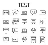 Test related vector icon set. Well-crafted sign in thin line style with editable stroke. Vector symbols isolated on a white background. Simple pictograms Stock Images