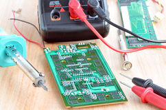 Test repair job on electronic printed circuit boar Royalty Free Stock Photo