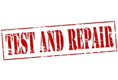 Test and repair. Rubber stamp with text test and repair inside,  illustration Stock Photo