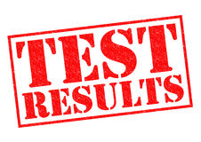 TEST RESULTS. Red Rubber Stamp over a white background Royalty Free Stock Image
