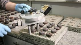 Testing of tile adhesive samples for strength stock video footage