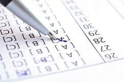Test score. Pen on Test score sheet with answers stock photos