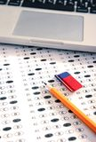 Test score sheet with answers. Education concept Royalty Free Stock Photo