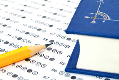 Test score sheet with answers Stock Image