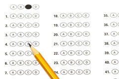 Test score sheet with answers and pencil.  Royalty Free Stock Image