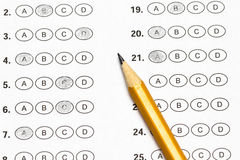 Test score sheet with answers and pencil Royalty Free Stock Photos