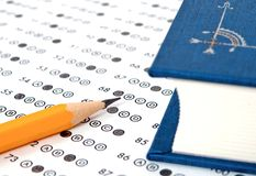 Test score sheet with answers. School and Education. Test score sheet with answers Stock Photos