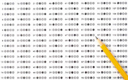 Test score sheet with answers Stock Photography