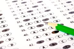Test score sheet with answers. School and education concept. Test answer sheet with pencil. Examination test. Education concept Stock Images