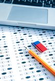 Test answer sheet with pencil. Examination test. Education concept. Test score sheet with answers. Education concept Royalty Free Stock Photos