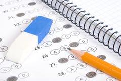 Test scoreblad met antwoorden Stock Afbeeldingen