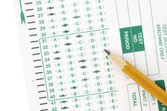 Test sheet. Isolated exam test sheet with a pencil on a white background Royalty Free Stock Photography