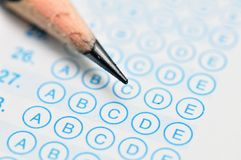 Test Sheet Macro. Standardized quiz or test score sheet with multiple choice answer macro Royalty Free Stock Photography