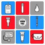 Test strip, drop of blood, syringe and glucose meter. Diabetes. Flat icons and objects of medical equipment. Royalty Free Stock Image