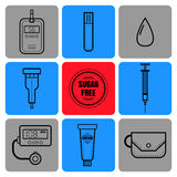 Test strip, drop of blood, syringe and glucose meter. Diabetes. Flat icons and objects of medical equipment. Stock Photos