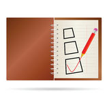 Test ticking with notes vector. Illustration Stock Image