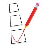 Test ticking with red pencil vector. Test ticking with red pencil art vector Stock Photo
