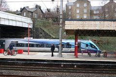 Test train new mark 5A coaches arriving Lancaster. Running as 310D, the 08:12 from Carlisle to Bletchley Relief 1 arriving at Lancaster railway station, platform royalty free stock images